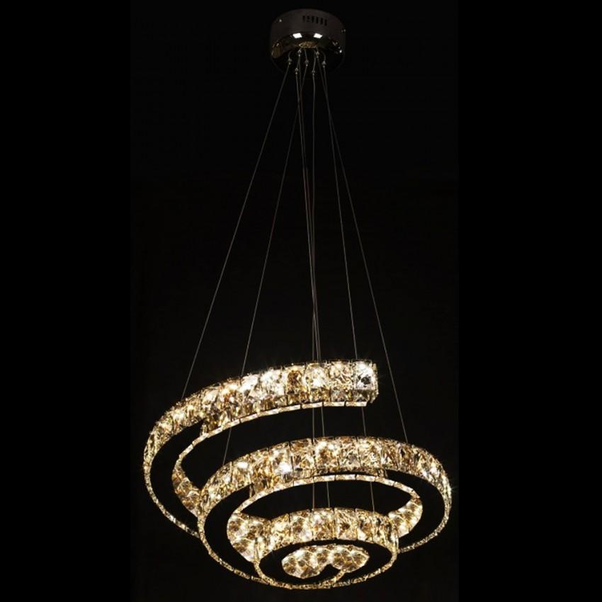 LAMPARA LED CROMO CRISTAL 72W REGULABLE ESPIRAL