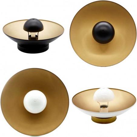 aplique de pared en negro o blanco y oro fotos de frente y perfil de los dos colores en hogarlux.com
