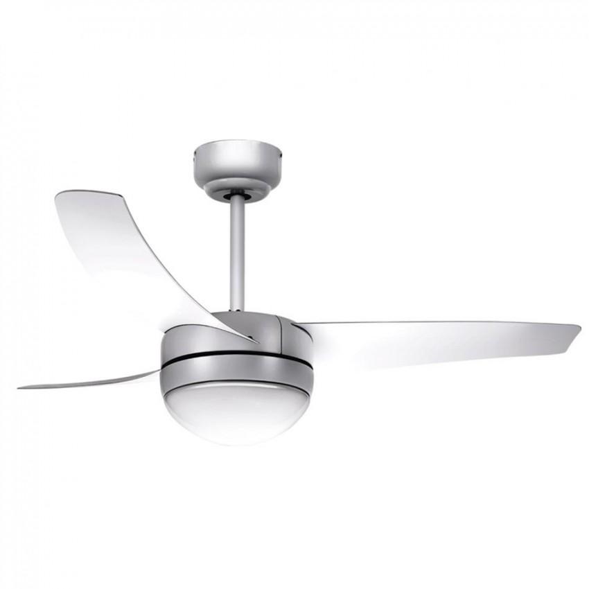 Ventilador con mando para techo de 2 bombillas E27, en color plata de 3 aspas.