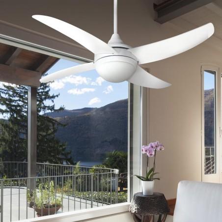 Ventilador osiris con mando para techo de 2 bombillas E27, en color plata de 4 aspas terreza.
