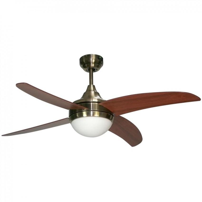 Ventilador osiris con mando para techo de 2 bombillas E27 con 4 aspas, en color cuero / cerezo de 4 aspas.