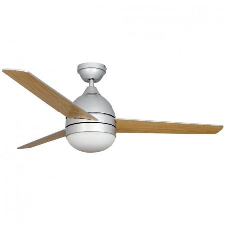 Ventilador alisio con mando para techo de 2 bombillas E27 con 3 aspas, en color plata / haya.