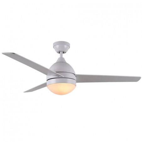 Ventilador alisio con mando para techo de 2 bombillas E27 con 3 aspas, en color  blanco.